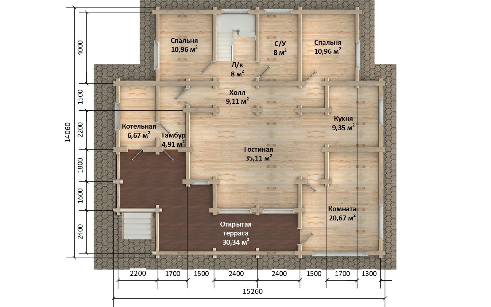 Фото #2: Красивый деревянный дом РС-10 из бревна