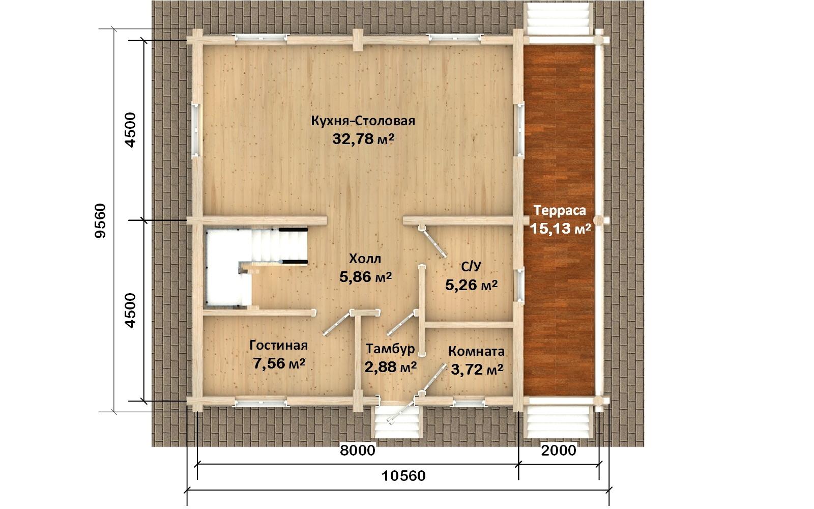 Фото #2: Красивый деревянный дом РС-130 из бревна