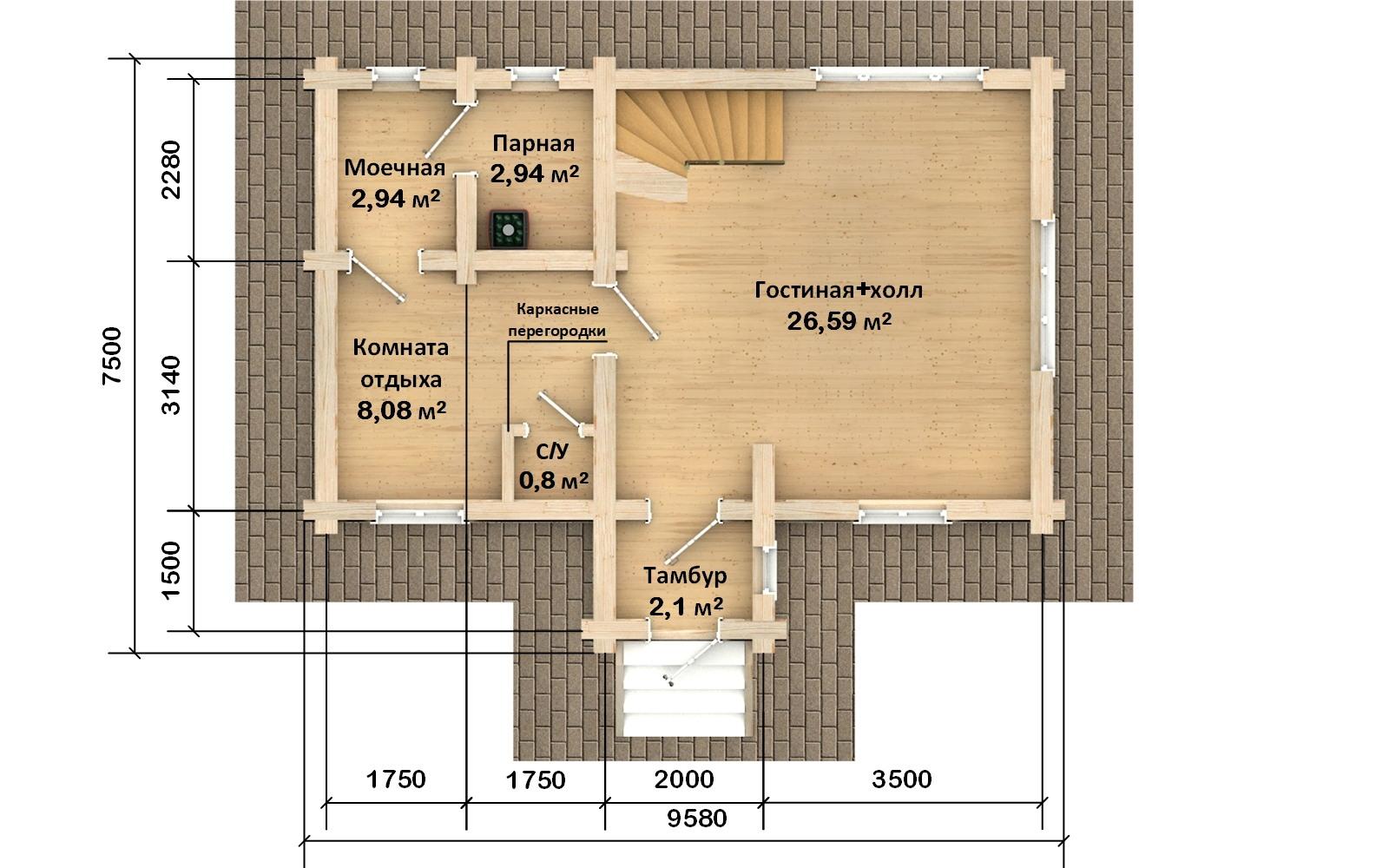 Фото #2: Красивый деревянный дом РС-117 из бревна