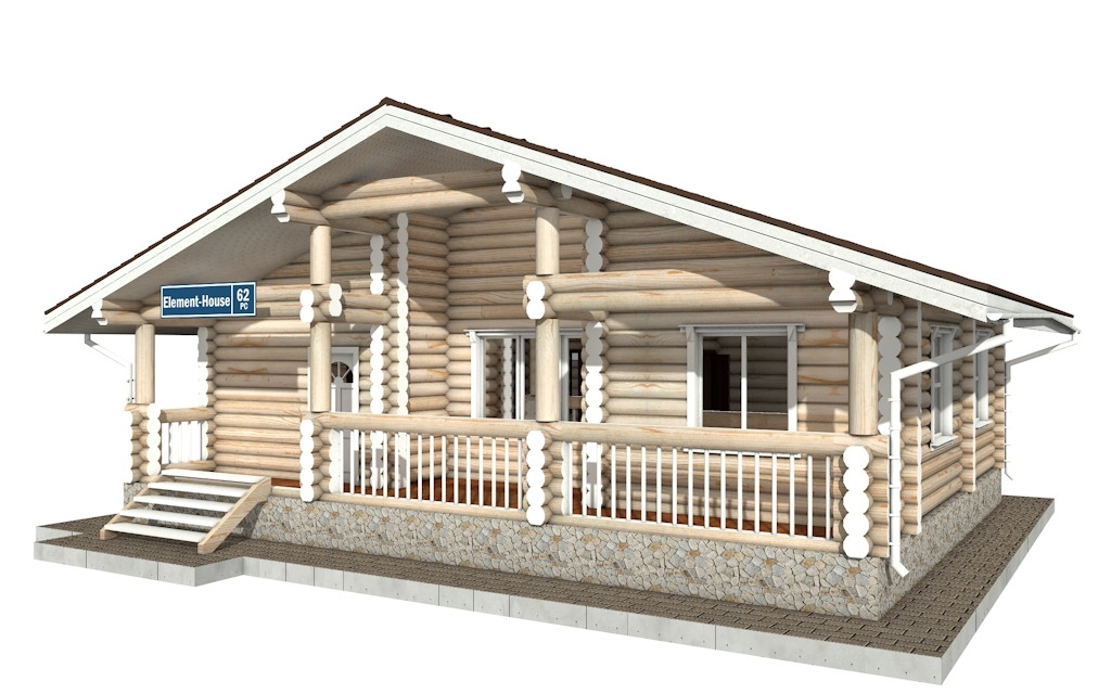 Фото #3: Красивый деревянный дом РС-62 из бревна