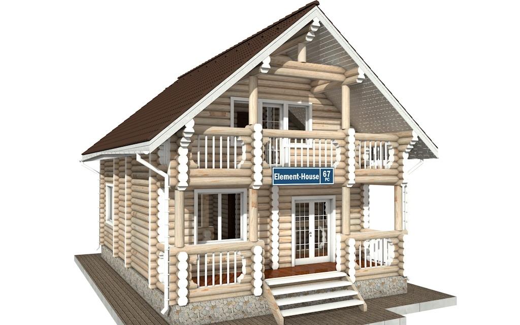 Фото #2: Красивый деревянный дом РС-67 из бревна
