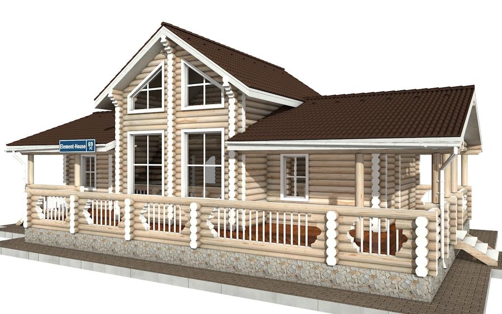 Фото #2: Красивый деревянный дом РС-69 из бревна