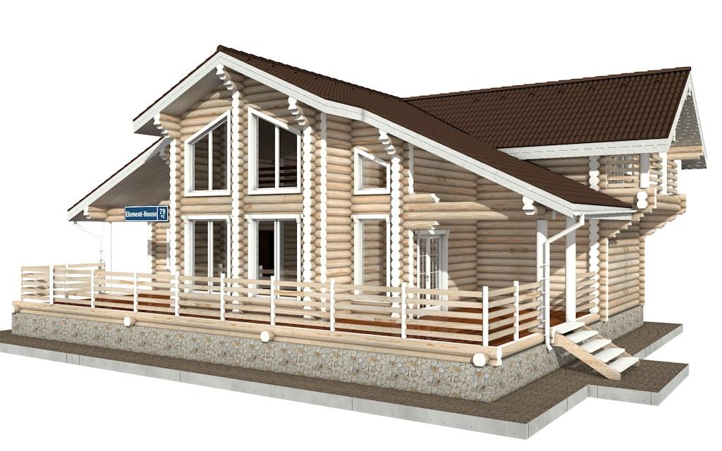 Фото #2: Красивый деревянный дом РС-79 из бревна