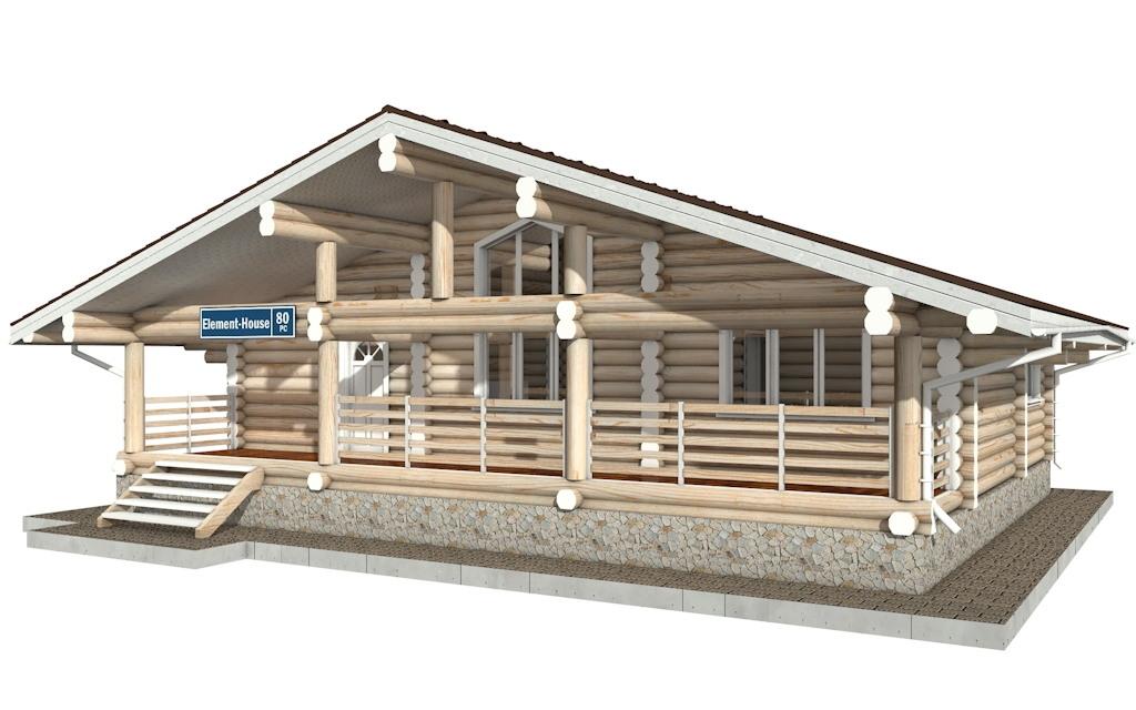 Фото #2: Красивый деревянный дом РС-80 из бревна