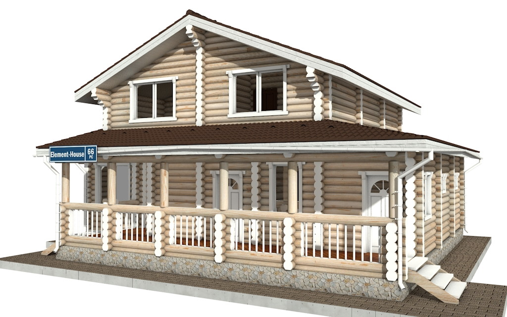 Фото #2: Красивый деревянный дом РС-66 из бревна