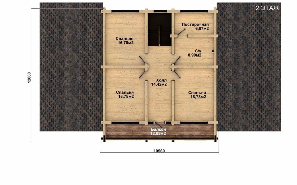 Фото #3: Красивый деревянный дом РС-28 из бревна