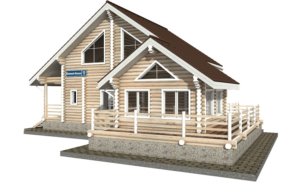 Фото #2: Красивый деревянный дом РС-35 из бревна