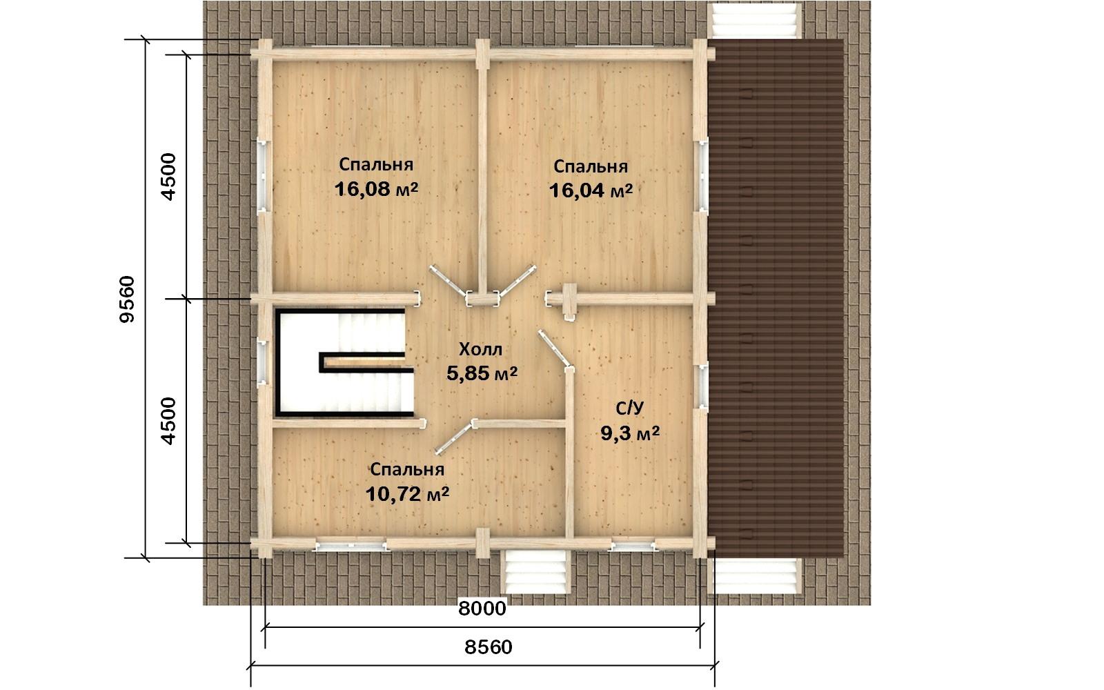 Фото #3: Красивый деревянный дом РС-130 из бревна