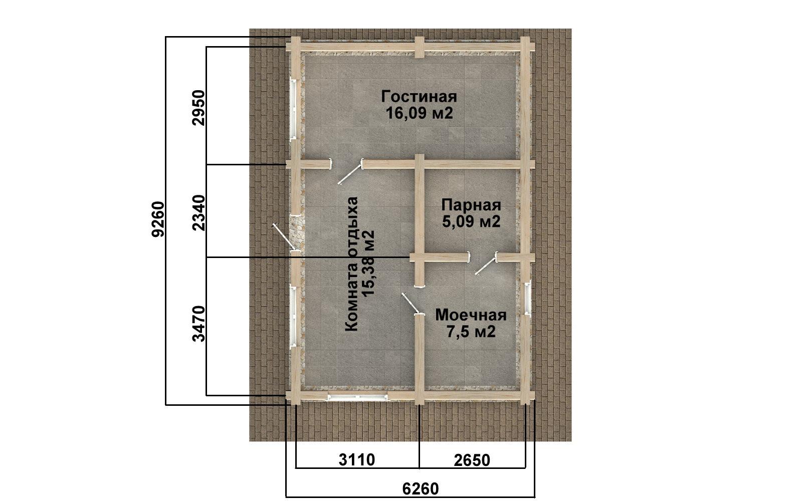 Баня из бревна - проект Бр-37, фото #2