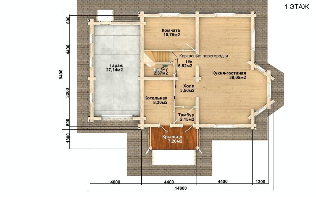 Фото #2: Красивый деревянный дом РС-97 из бревна