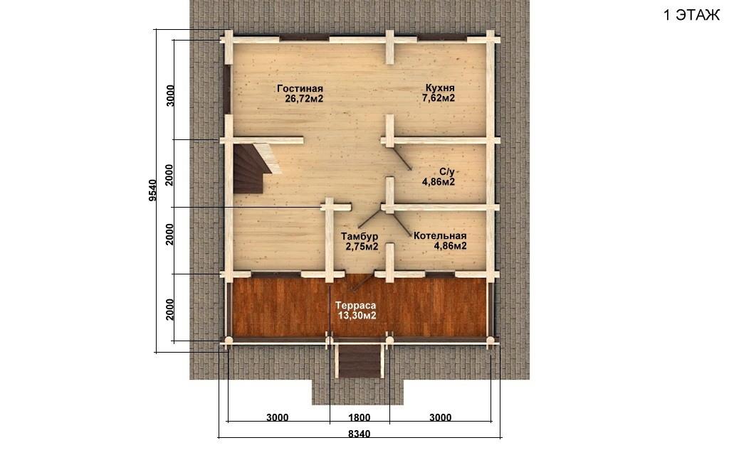 Фото #2: Красивый деревянный дом РС-71 из бревна
