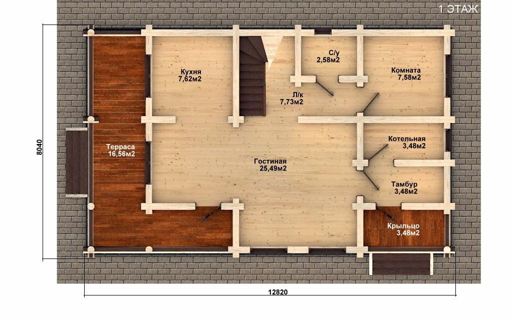 Фото #2: Красивый деревянный дом РС-57 из бревна