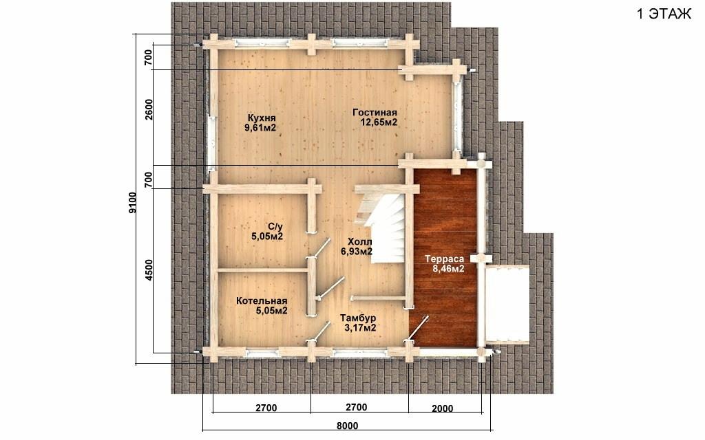Фото #4: Красивый деревянный дом РС-90 из бревна