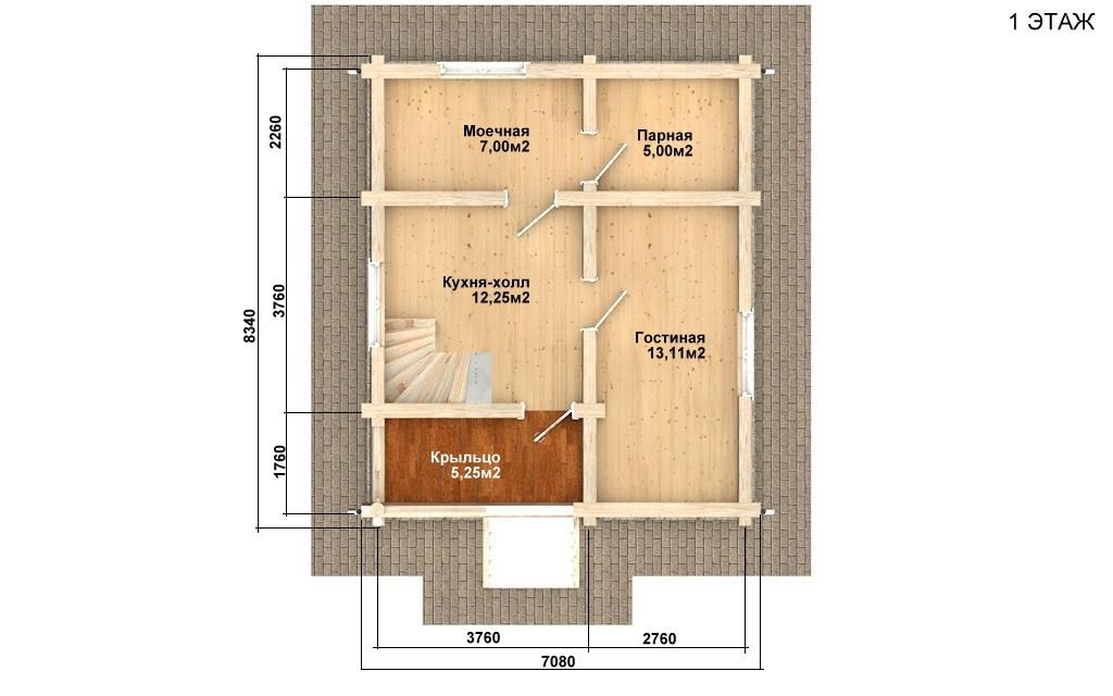 Фото #2: Красивый деревянный дом РС-93 из бревна