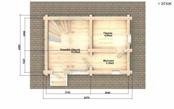 Баня из бревна - проект Бр-30, фото #10