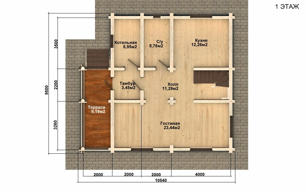 Фото #2: Красивый деревянный дом РС-64 из бревна