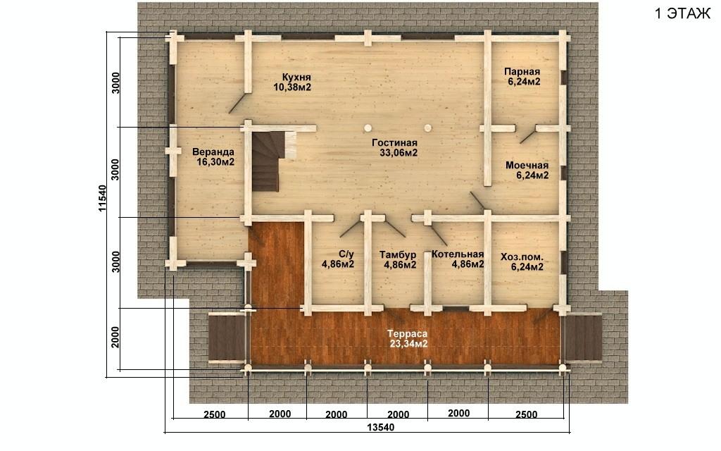 Фото #4: Красивый деревянный дом РС-66 из бревна