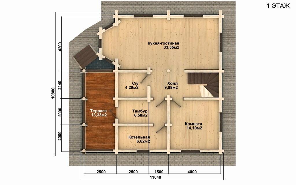 Фото #2: Красивый деревянный дом РС-68 из бревна