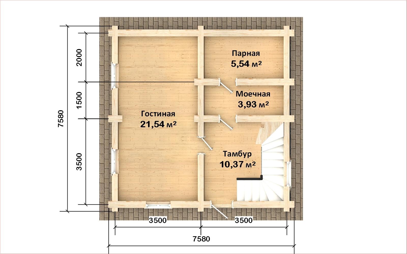 Фото #2: Красивый деревянный дом РС-107 из бревна