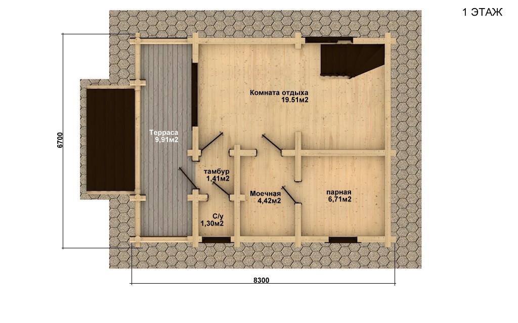 Баня из бревна - проект Бр-8, фото #4
