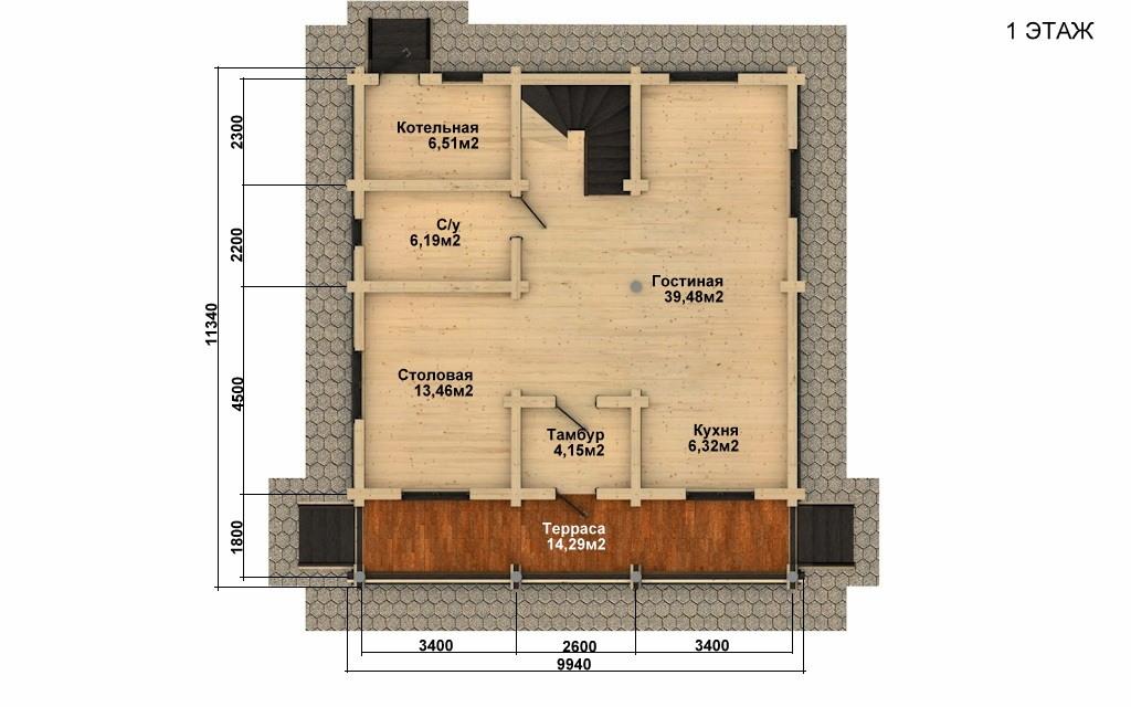 Фото #2: Красивый деревянный дом РС-43 из бревна