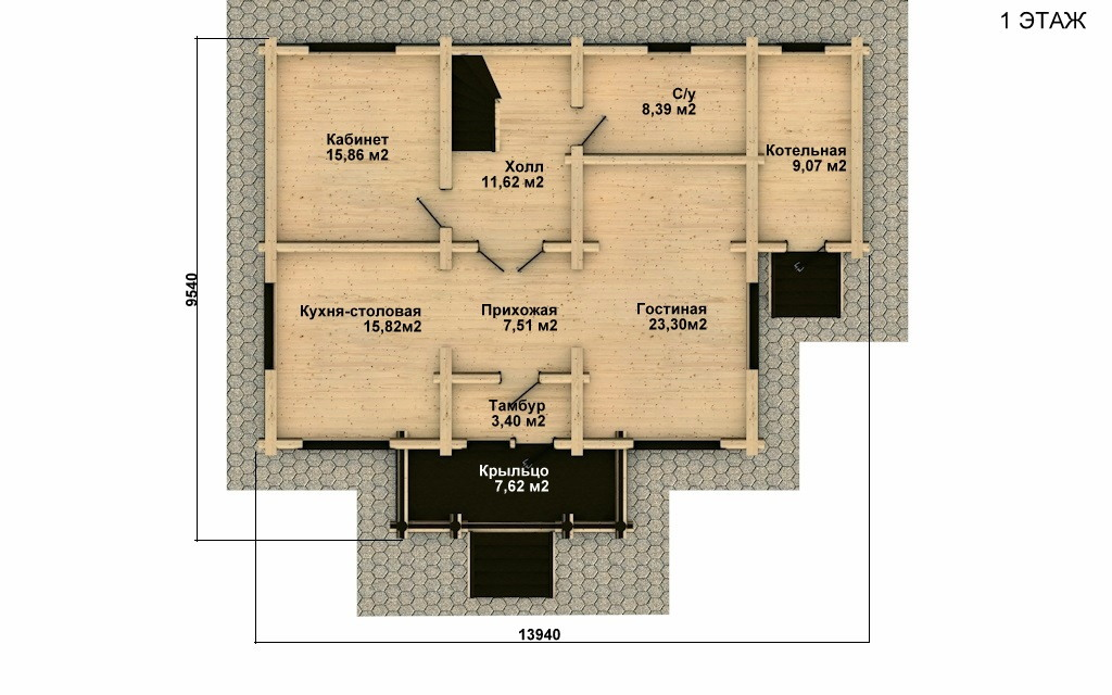 Фото #2: Красивый деревянный дом РС-16 из бревна