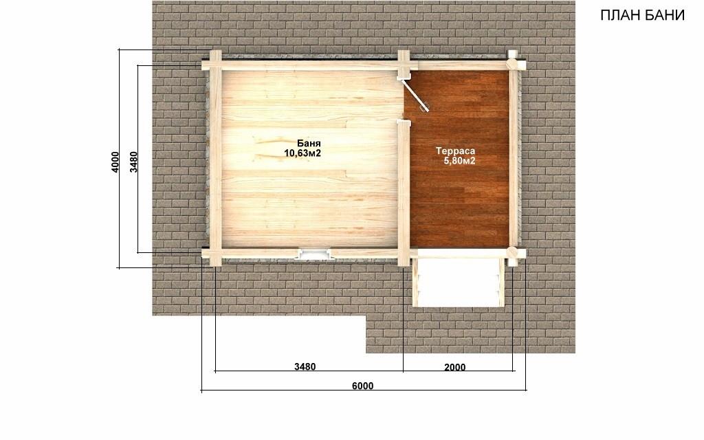 Баня из бревна - проект Бр-28, фото #2