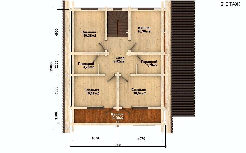 Фото #5: Красивый деревянный дом РС-63 из бревна