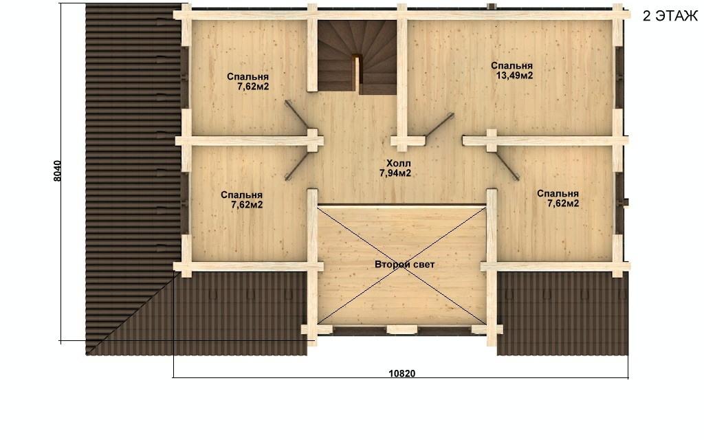 Фото #3: Красивый деревянный дом РС-57 из бревна
