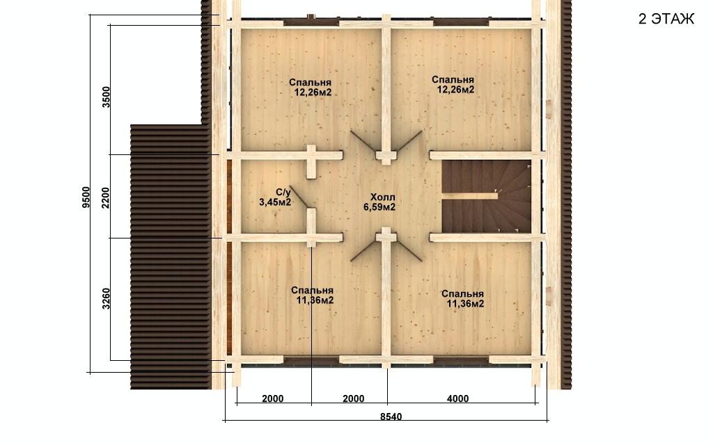 Фото #3: Красивый деревянный дом РС-64 из бревна
