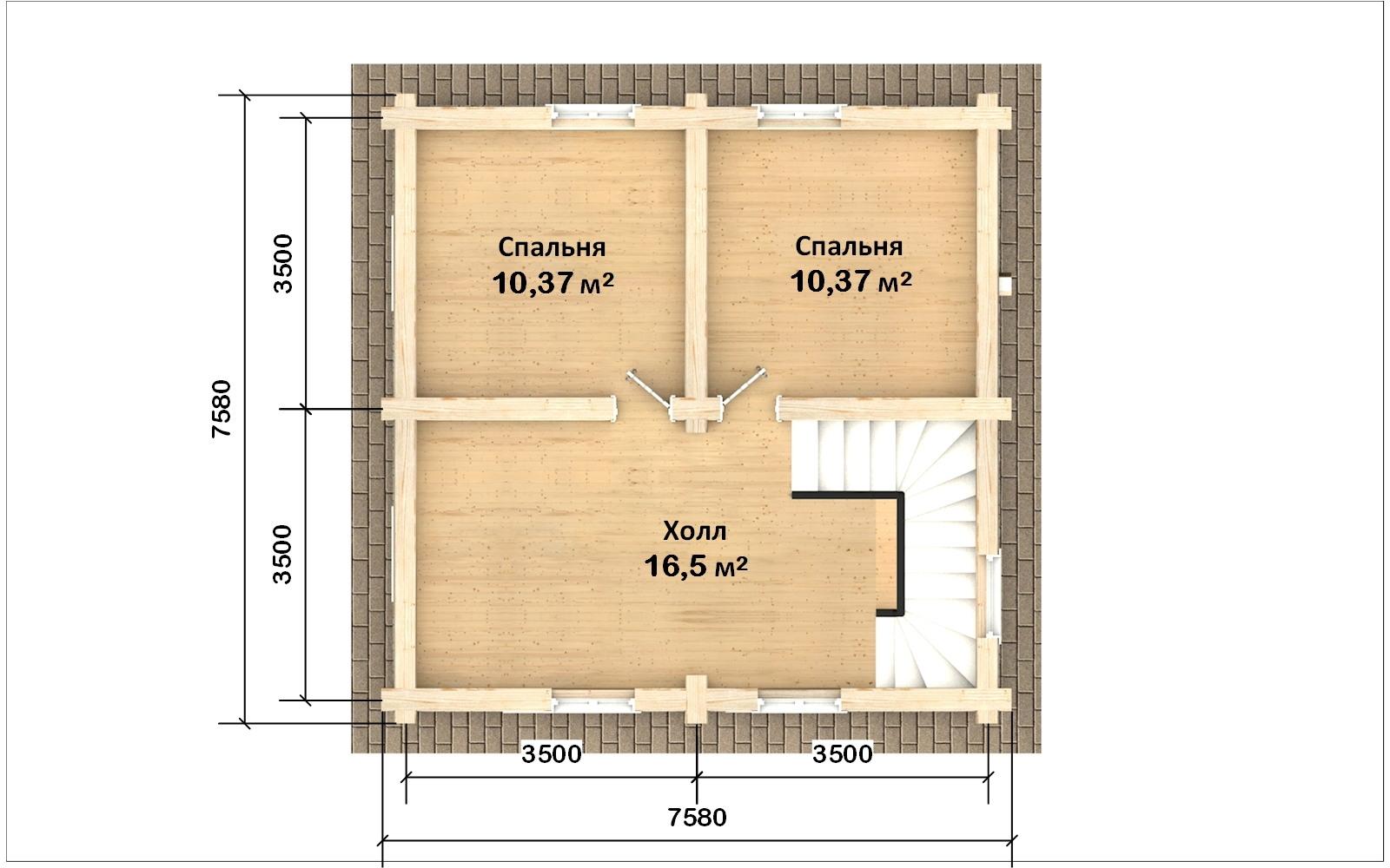 Фото #3: Красивый деревянный дом РС-107 из бревна