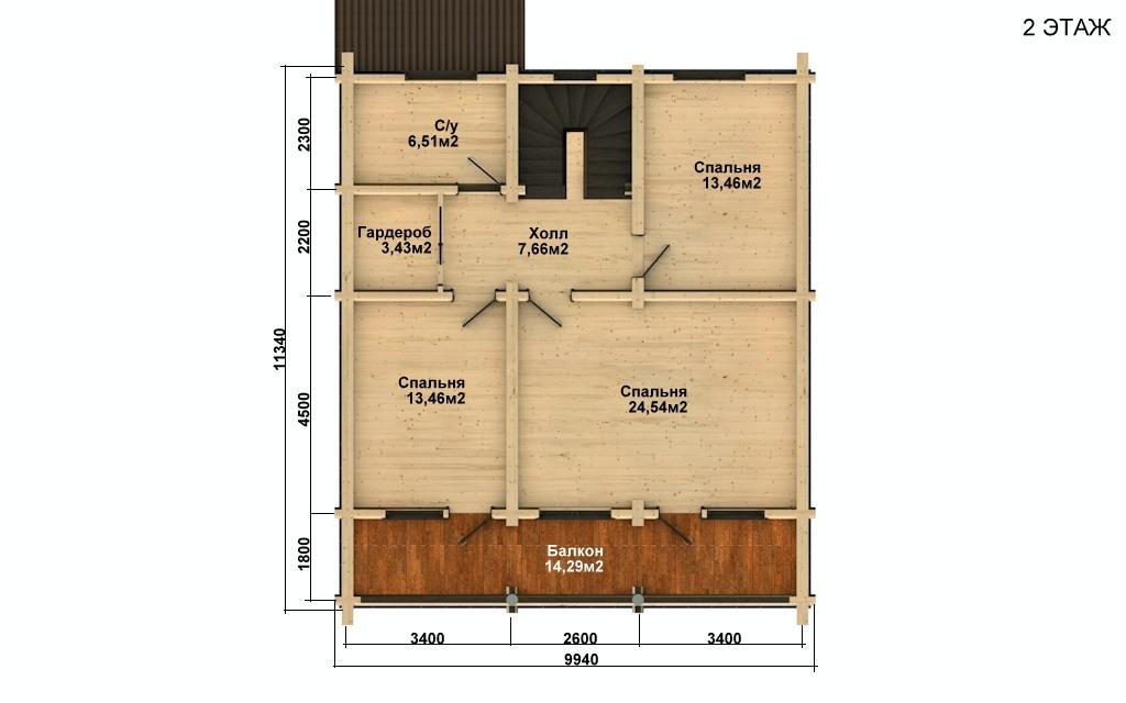 Фото #3: Красивый деревянный дом РС-43 из бревна