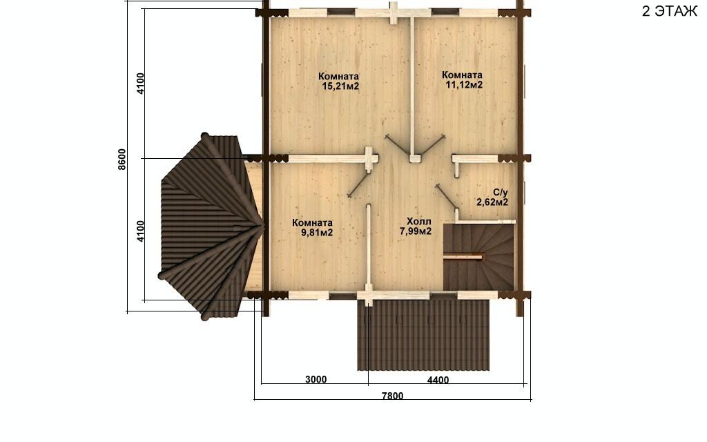 Фото #3: Красивый деревянный дом РС-52 из бревна