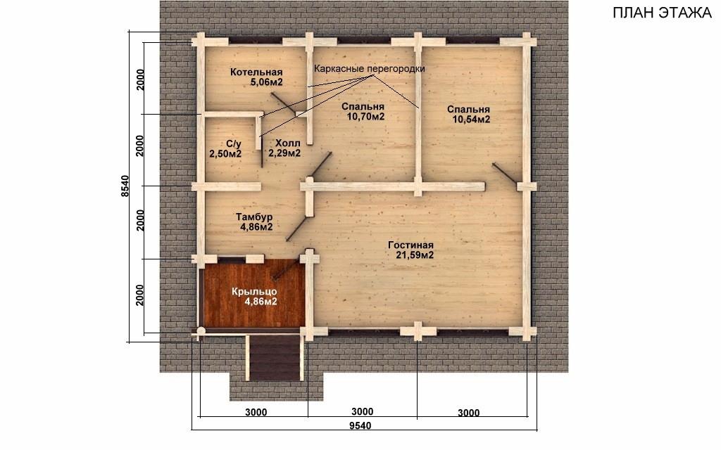Фото #2: Красивый деревянный дом РС-76 из бревна