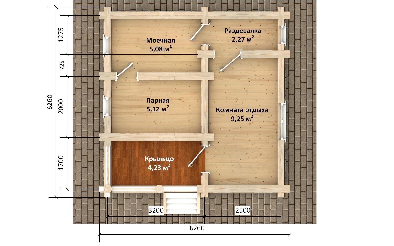 Баня из бревна - проект Бр-58, фото #2