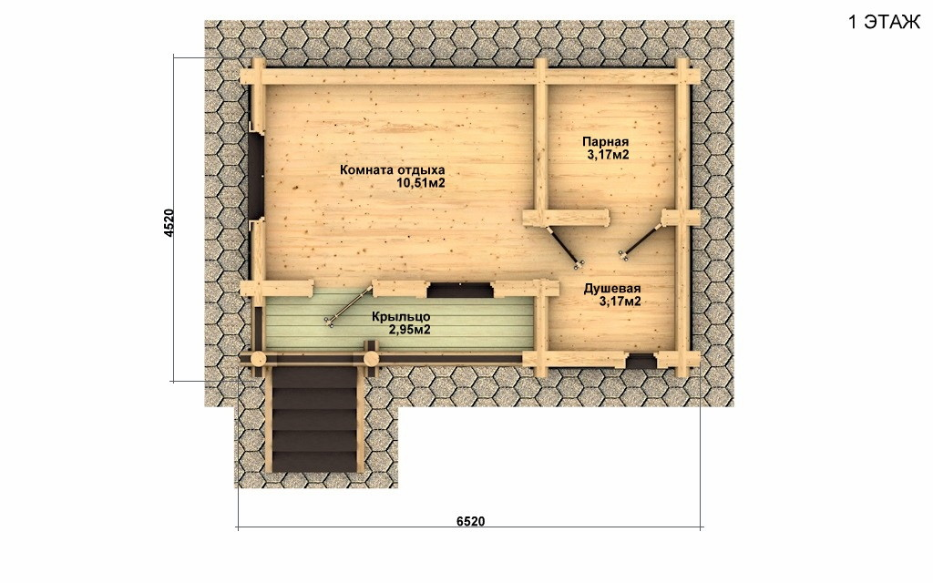 Баня из бревна - проект Бр-2, фото #2