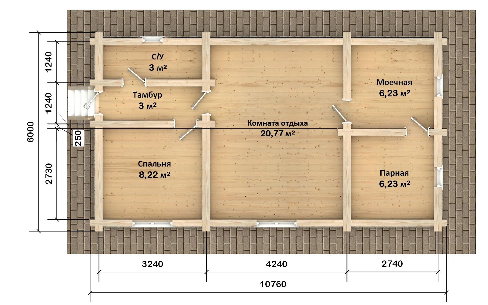 Бр-50 - сруб бани 6 х 11, фото #2