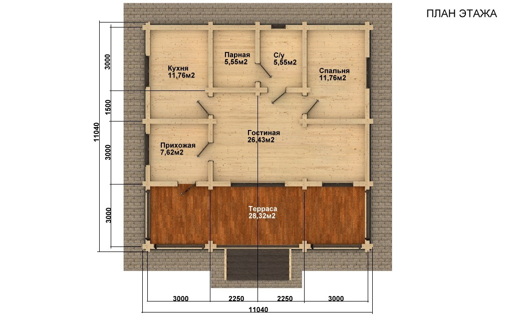Фото #4: Красивый деревянный дом РС-44 из бревна