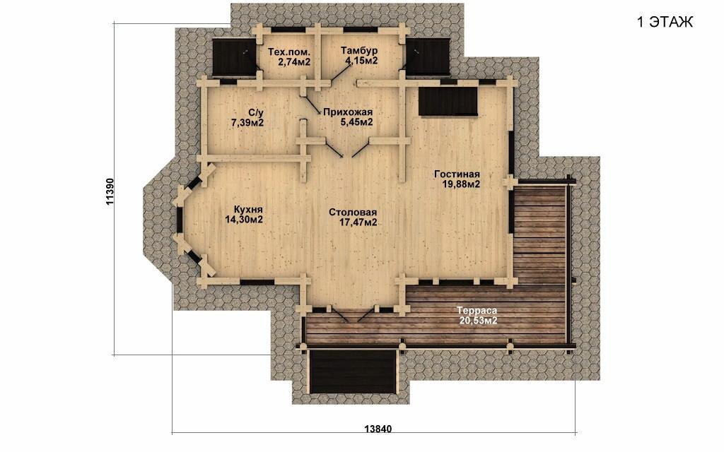 Фото #4: Красивый деревянный дом РС-27 из бревна