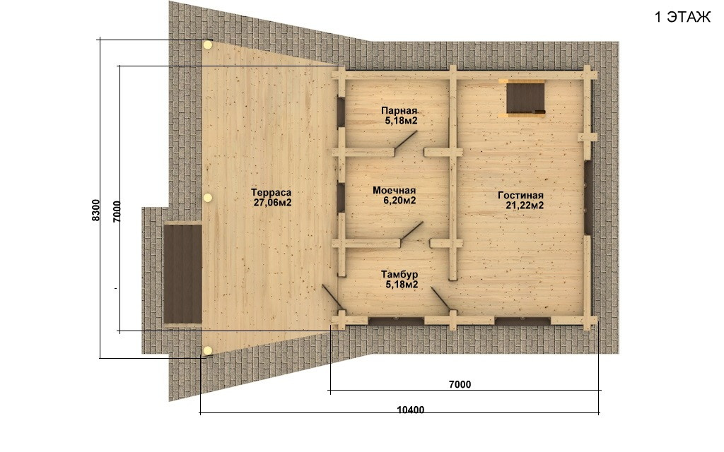 Баня из бревна - проект Бр-13, фото #4