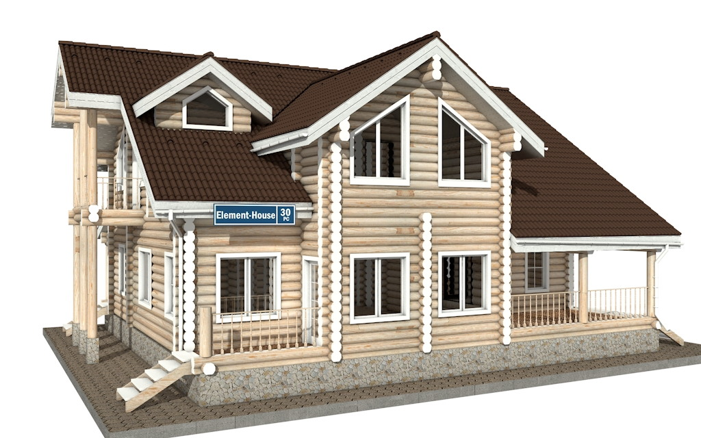РС-30 - Проект дома из бревна с мансардой