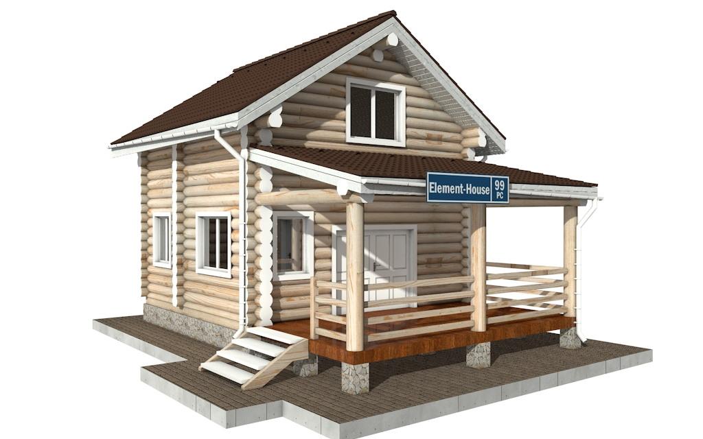 РС-99 - Проект дома из бревна с мансардой