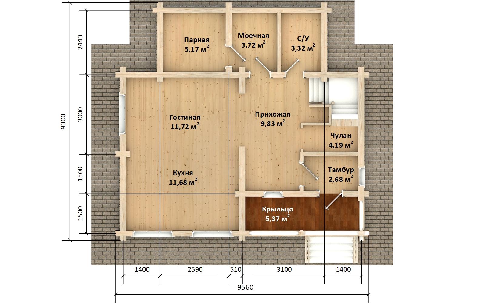 Фото #4: Красивый деревянный дом РС-142 из бревна