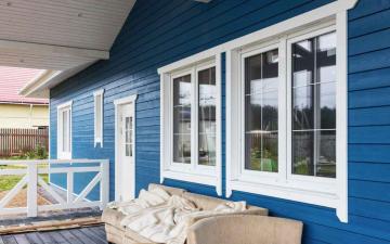 синий фасад имитация бруса фото