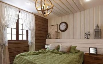 белые стены спальни имитация бруса