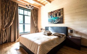 спальня отделка имитацией бруса