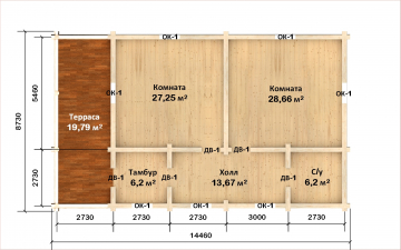 Планировка сруба СТ-65 9х9 из бревна