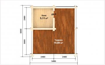 Планировка сруба СТ-57 3х3 из бревна