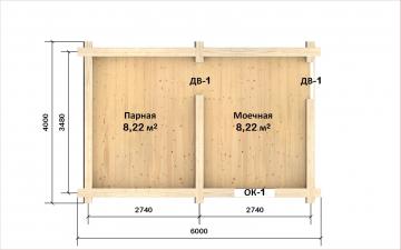 Планировка сруба СТ-6 6х4 из бревна