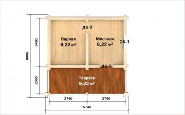 Планировка сруба СТ-7 6х4 из бревна